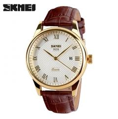 SKMEI Men/Women Watch British Style Watches Business Sport Quartz Watch Couple Watch Brown&Gold Men