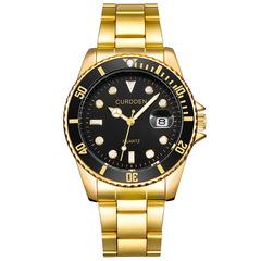 CURDDEN brand Men's Fashion Waterproof Sport Stainless Steel Strap Calendar Quartz Watch Watches Gold&Black one size
