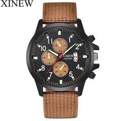 XINEW Men's Nylon Cloth Calendar Luminous Waterproof Digital Wristwatch Watch Watches Sports Watch Coffee&Black one size