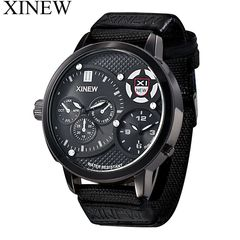 XINEW Waterproof Men's Fashion Wrist Watch Casual Creative Outlook Sports Wristwatch Quartz Watch Black one size