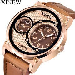 XINEW Pu Men's Fashion Wrist Watch Fashion Casual Creative Outlook Sports Wristwatch Quartz Watch Khaki one size