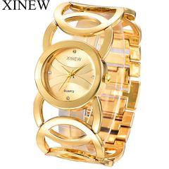 XINEW Brand Watches Women Full Steel Quartz Wrist Watch Calendar Wristwatches Auartz Silver one size