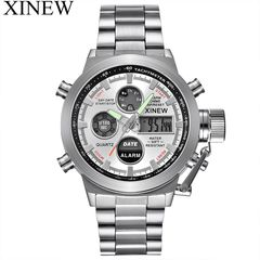 XINEW Brand Watches Mens Chronograph Casual Full steel Calendar Business Digital Watch Silver one size
