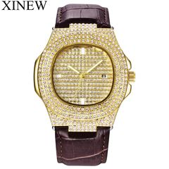 XINEW Men's Mens Calendar Luxury Brand Watches Fashion Wristwatches  Leather Date Diamond Watch Gold one size
