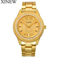 XINEW Women Gold Watches Fashion Stainless Steel Gifts Wrist Watch Calendar Wristwatches quartz Gold one size