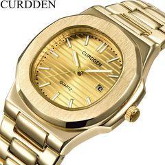 CURDDN Brand Men's Watches Men Full Steel Date Magnet Stone Business Wristwatch Gold one size
