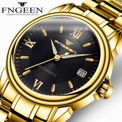 FNGEEN Fully Automatic Calendar Mechanical Watch Tourbillon Hollowed Out Waterproof Watch #1 one size