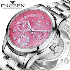 FNGEEN Women's Mechanical Watch Waterproof Automatic Ladies Calendar Hollow Fashion Watch Pink one size