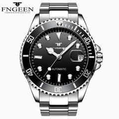 FNGEEN Blue Luminous Black Water Ghost Men's Automatic Mechanical Watch Green Water Steel Belt Watch Black one size