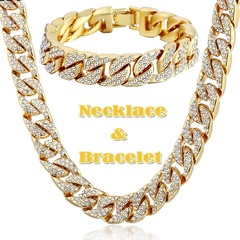 Hip Hop 18K Gold Plated Iced Out Shiny Simulated Clear Cuban Chain Necklace & Bracelet  Jewelry Gold Bracelet