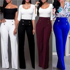 Women Wide Leg Pants Strech Trousers Ladies Flared Pants High Waist Slacks Suit Straight Trousers White s