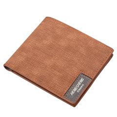 HENGSHENG Men Short Paragraph Wallet Business Casual Leather PU Wallet Men Fashion Bag black Black one size
