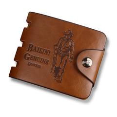 HENGSHENG Men's Short Wallet Vintage Hunter Wallet Large Capacity Buckle Wallet #1 one size