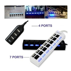 4/7Ports Micro USB Hub High Speed Hub LED With ON/OFF Switch For Tablet Laptop Computer Notebook white 4 Ports