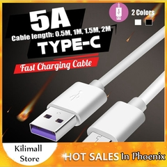 5A SuperCharge USB Type-C 0.5M-2M Cable Fast Charging For Huawei Mate 20 P20 P30 Pro White 1.5m