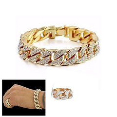 Men's Fashion Iced Out Stone Hand Chain With Ring Jewellery Cuban Gold Hand Chain And Ring Gold(Bracelet+Ring) 5