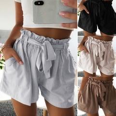 Women Fashion Loose Shorts Elastic Waist Summer Beach Short Pants Shorts Black s