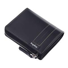 HENGSHENG Valentine's Gift Pu Vintage Men Wallet-Leather Luxury Short Male Clutch Wallet Black one size