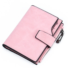 HENGSHENG Women's Short Wallet Candy Color Button Wallet Multi-card Coin Purse Frosted Zipper Bag Pink one size