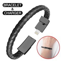 Bestmotoring Lightning Line Data Charging Leather Bracelet Charger  for IPhone Andriod Type-c Black Iphone(22.5cm)