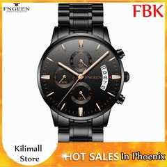FNGEEN Men's Six Pin Sports Quartz  Waterproof  Fashion Trend Luminous Belt Men's Watch Wrist Watch Black one size