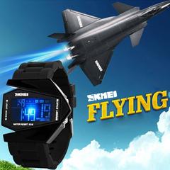 SKMEI Creative Aircraft Men's Waterproof LED Watch Electronic Watch Students Retro Men's Watch Black one size