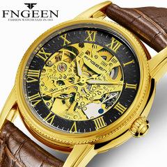 FNGEEN Men's Watch Mechanical Automatic Hollow Belt Waterproof Luminous Sports Leather Student Watch A one size