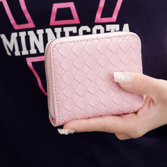 Women's Coin Bag Simple Weaving Bow Zero Zipper Wallet Short Coin Purse Card Pack Pink one size