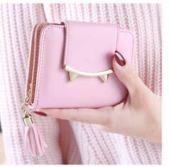 Fringed Women's Wallet Two Fold Zipper Tiger Tooth Coin Purse Ladies Card Package Pink one size