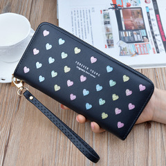 Women's Long Zipper Large-capacity Mobile Phone Bag Wild Love Color Hollow Clutch Bag Black one size