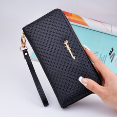 Solid Color Ladies Wristband Clutch Bag Long Women's Zipper Wallet Large Capacity Wallet Black one size