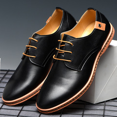Phoenix 38-48 Casual Round Head Male Oxford Wedding Tooling Shoes Single Shoes Men's Leather Shoes Black 38 Artificial pu