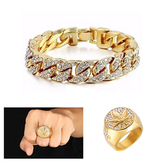 Men's Leaf Iced Out Stone Hand Chain With Ring Jewellery Cuban Gold Hand Chain And Ring Gold 8
