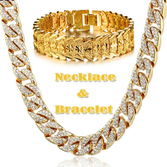 Hip Hop 18K Gold Plated Iced Out Shiny Simulated Clear Cuban Chain Necklace & Bracelet Jewelry Gold Bracelet+Necklace