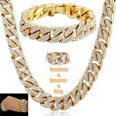 Hip Hop 18K Gold Plated Iced Out Shiny Simulated Clear Cuban Chain Necklace & Bracelet&Ring Jewelry Bracelet+Necklace+Ring 6