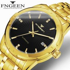 FNGEEN Magic Mirror Automatic Hollow Fashion Mechanical Calendar Men's Watch Platinum Official Watch A one size
