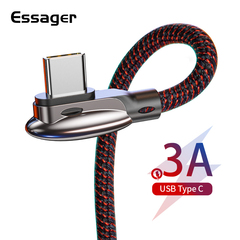 Essager USB Type C Cable 3A Fast Charging USBC Type-C Cable for Xiaomi Redmi Note 7 K20 Samsung Type c 0.6M