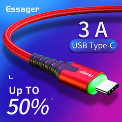 Essager LED USB Type C Cable Fast Charge Wire Cord 3m USBC Cable for Xiaomi Red 2m