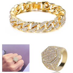 Men's Fashion Diamond Hand Chain With Ring Jewellery Cuban Gold Hand Chain And Ring Bracelet+Ring 7