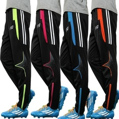 Breathable Quick-drying Mens Skinny Soccer Pants Football Running Training Sweat Tracksuits Trousers Black&Blue l