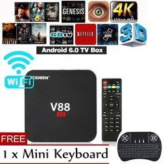 【Free Gift】V88 Android TV Box Latest KD Android7.1 OS 1GB RAM 8GB 1080P WiFi HDMI Smart TV Box