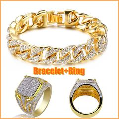 Men's Diamend Iced Out Stone Hand Chain With Ring Jewellery Cuban Gold Hand Chain And Ring Bracelet+Ring 7