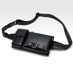 Multi-function Pockets Men's Running Mobile Phone Bag Shoulder Diagonal Chest to Collect Wallet Black one size
