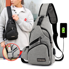 Men's Women's Nylon Sling Messenger Chest Bag Shoulder Backpack Shoulder Travel Bag Grey l*w*h:16*32*10cm
