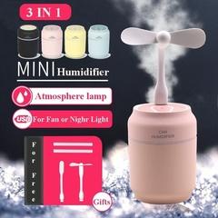 3 in 1 Humidifier Mini Portable Air Purifier Home Mute Bedroom Desktop Car USB LED Night Light Fan Black One size