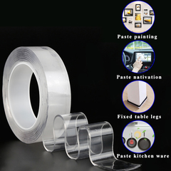 3CM*3M Multifunctional Double-Sided Adhesive Nano Tape  Washable Removable Gel Grip Sticker Transparent W*L:3cm*3M
