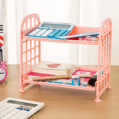 Double Plastic Storage Rack Kitchen Desktop Storage Rack Bathroom Vanity Finishing Rack Pink One size