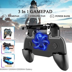 3 In 1 PUBG MOBILE Game Controller Shooter Trigger Gamepad +Mobile Cooling Fan + Mobile Power Black One size