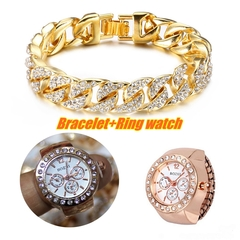 Men's Fashion Iced Out Stone Hand Chain With Ring Watch Jewellery Cuban Gold Hand Chain And Ring Gold Bracelet+Ring watch