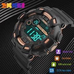 SKMEI Digital Men Outdoor Sports Wristwatch Date 5ATM Waterproof Backlight Multifunctional Watches Black one size